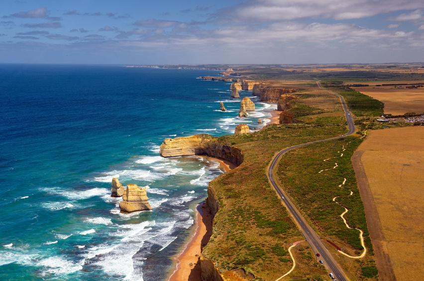 l'Australie à vélo . Great Ocean Road, un des plus beaux parcours