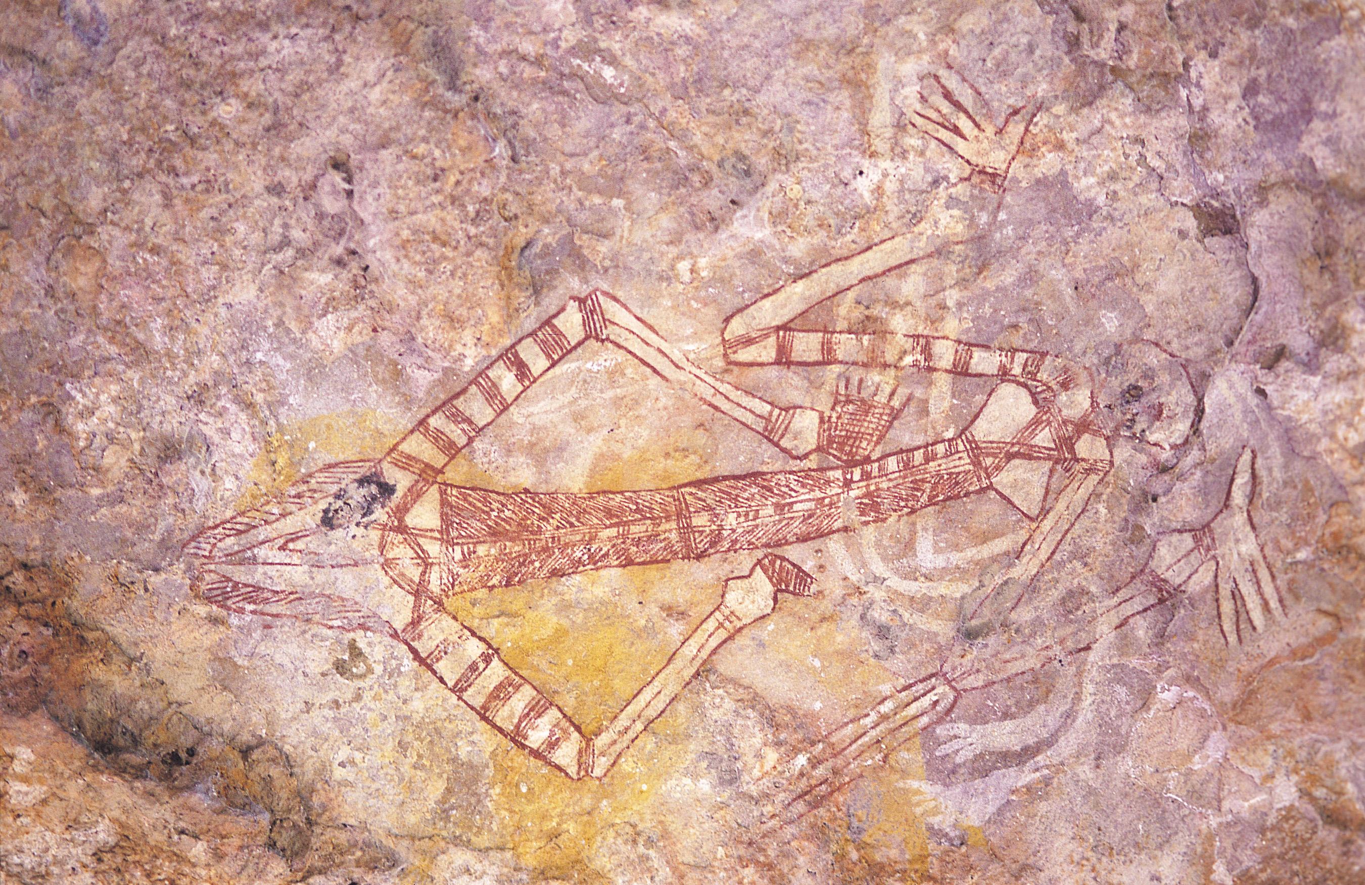 Peinture rupestre du parc Kakadu dans le territoire du Nord