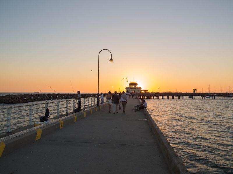 St Kilda Pier au coucher du soleil