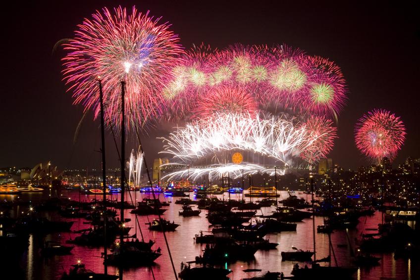 Feu d'artifice sur la baie de Sydney le jour de l'an