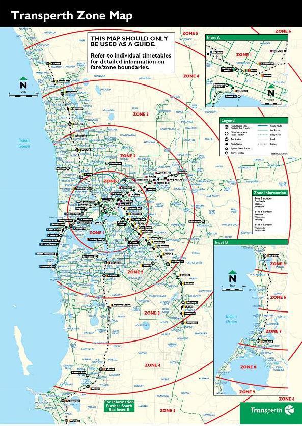 Les zones de déplacement à Perth. Source: Transperth