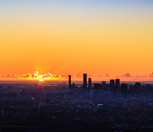 Brisbane City depuis le Mount Coot-tha. Queensland, Australie.