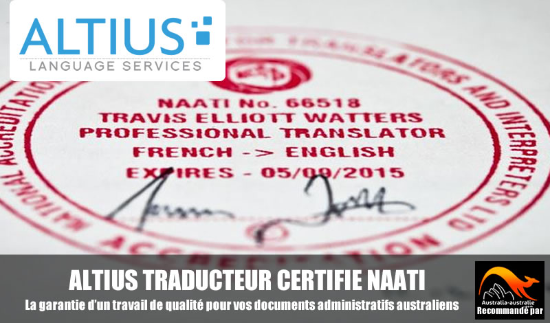 Traducteur certifié Altius Australie