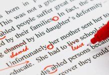 texte anglais avec fautes