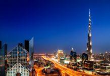 coucher de soleil sur Dubai et sur la tour Burj kahlifa