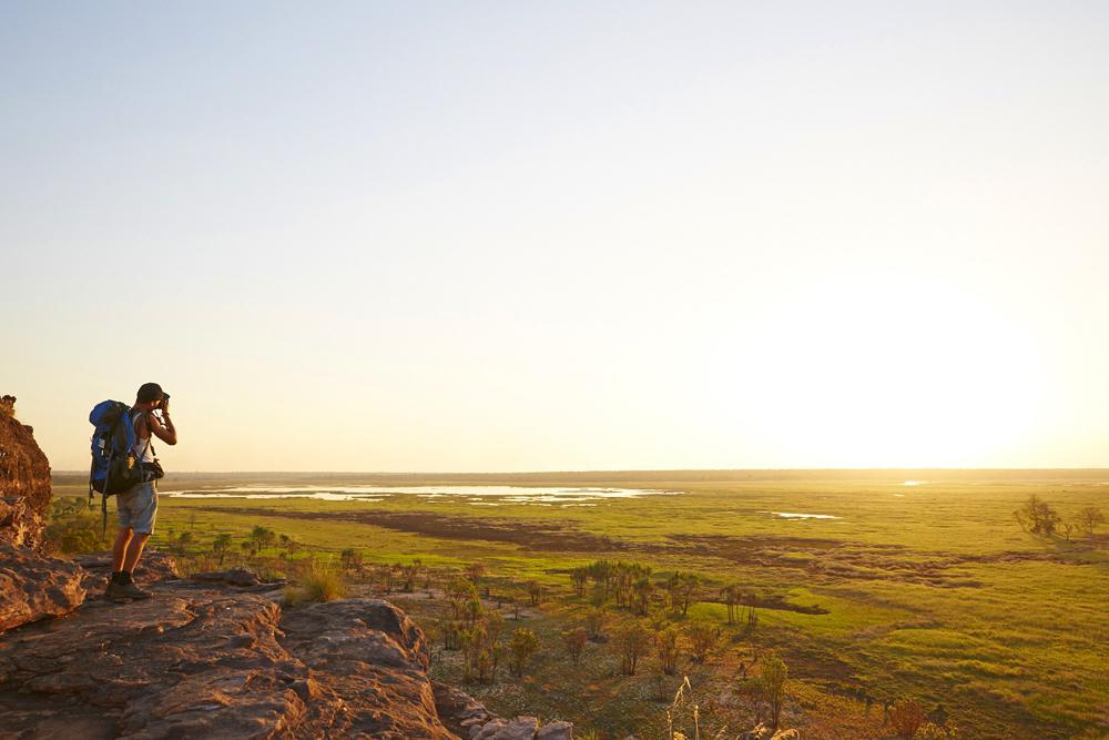 Parfait spot sur la route pour le coucher de soleil à Ubirr