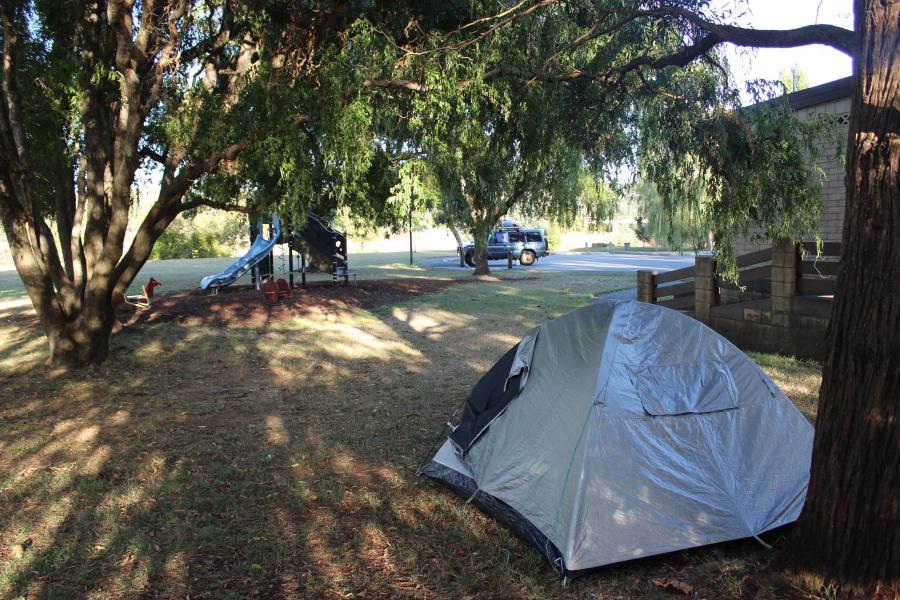 Ma tente plantée dans le parc le temps des vendanges...