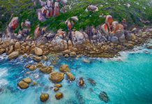 Vue aérienne du Wilsons Promontory, National Park