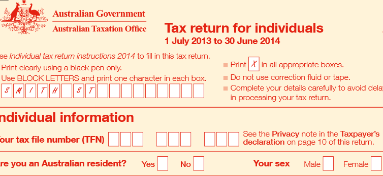 Tax return Australie